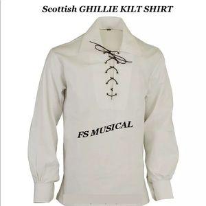 Scottish GHILLIE KILT SHIRT in White Color
